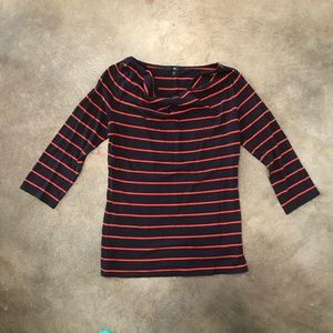 Navy blue and red striped cowl neck 3/4 sleeve top